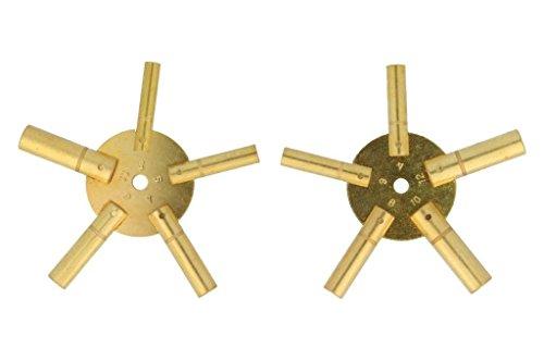 Uhrenschlüssel für Wanduhren (2-3-4-5-6-7-8-9-10-11) 2 Stück , Sternschlüssel