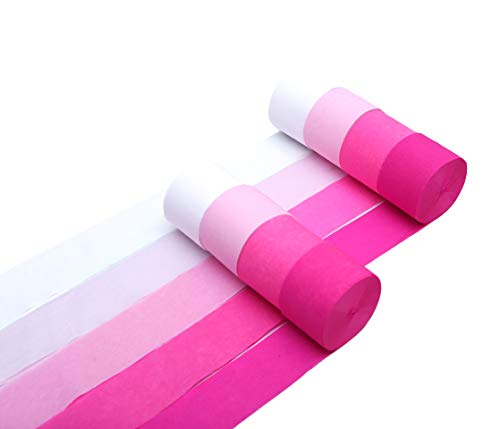 Party Crepe Paper Streamers - 8 Large Rolls, 2in x 120ft - Colorful Decorative Creped Roll for All Events Birthday, Festival, Wedding, Backdrop or Photo Booth Decoration, Flower Making | Pink Theme
