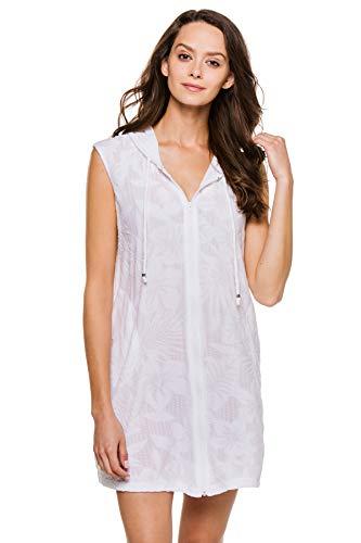 J. VALDI Women's Cottons Full Zip Hooded Tunic Swim Cover Up White M