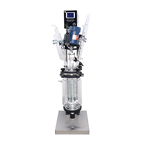 SF-3L Double-Layer Glass Reactor Tacket Glass Reactor Chemical Reaction Vessel with Digital Display Stepless Speed Regulation Suitable for Laboratory Reaction Distillation 110V