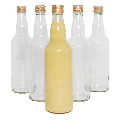 Glasflaschen zum Set 6 x 500ml (0,5L) Likörflaschen Flaschen mit Schraubverschluss, Schraubdeckel,befüllen, klein, gold, Schnäpse, TOP Qualität, Saft, Milch, Essig, Öl, Bier oder Likör Flasche