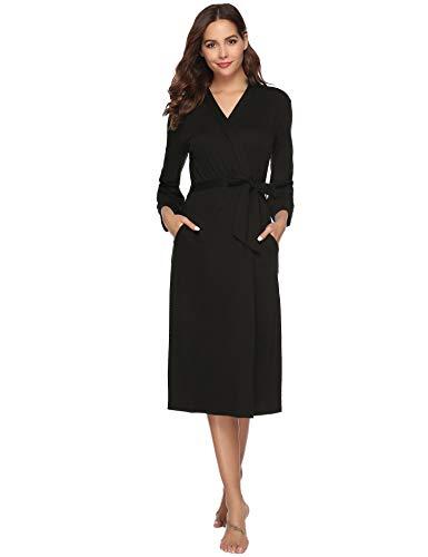 iClosam Robe de Chambre Kimono en Coton pour Femmes en Tricot pour Femmes, col en V, Peignoir de Nuit pour Toutes Les Saisons ,Noir,S