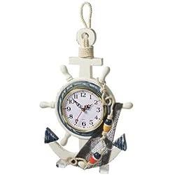 DRH Wooden Anchor & Ship Wheel Clock - Nautical Décor - Coastal Beach Home Accent - Wall Hanging Ornament - Steering Wheel Décor - 13.75 x 9