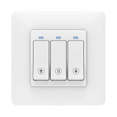 MoKo WLAN Smart Rolladen Zeitschaltuhr, WiFi Rolladenschalter Vorhang Schalter Wand Tastschalter, Jalousieschalter Kompatibel mit Alexa Echo Google Home SmartThings, APP Fernbedienung Timer - 1 Pack