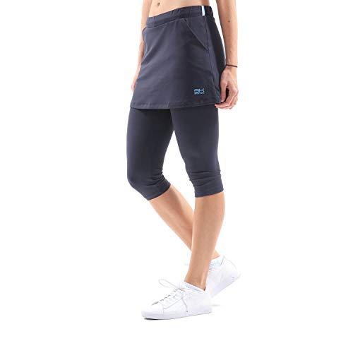 SPORTKIND Mädchen & Damen Tennis, Hockey, Running 2-in-1 Rock mit Leggings, Navy blau, Gr. M