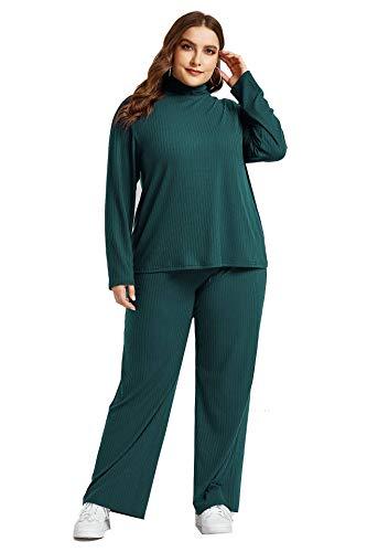 Chándal para mujer, talla grande, dos piezas, sudadera y pantalones para correr,...