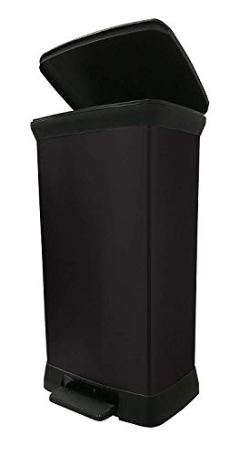 CURVER Deco Bin Abfalleimer, Kunststoff, schwarz/schwarz metallic, 50 L