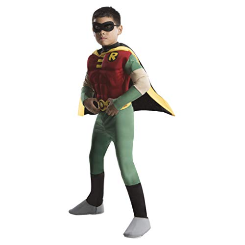 Rubie's Official DC Comic Teen Titan Robin Kids Costume, Deluxe Muscle...