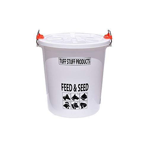 Tuff Stuff Products FS17 Seed and Animal Feed Drum Bucket with Lock Lid, White