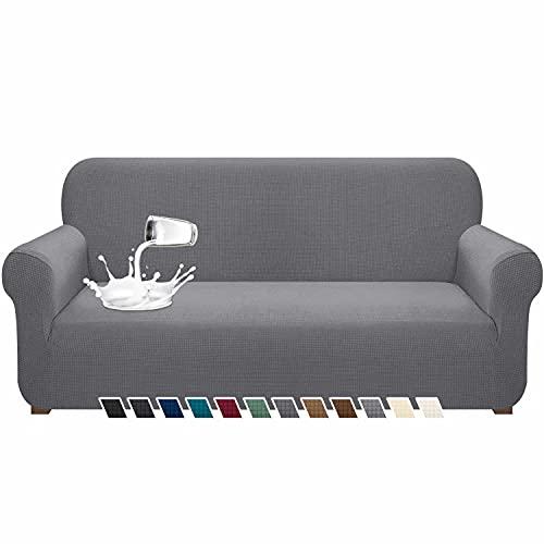 Pitpet - Funda de sofá impermeable para 3 cojines con banda elástica y protector de muebles para sala de estar (grande, gris claro)