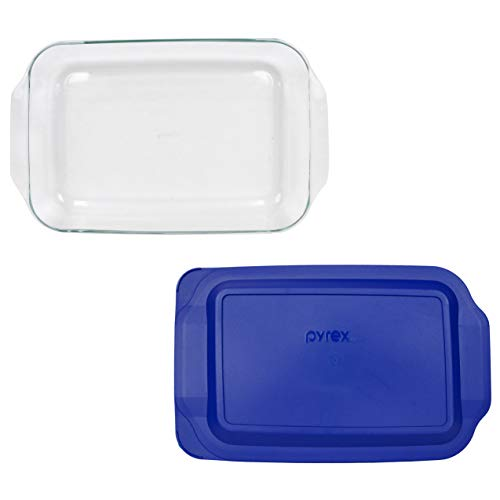"""PYREX 3QT Glass Baking Dish with Blue Cover 9"""" x 13"""" (Pyrex)"""
