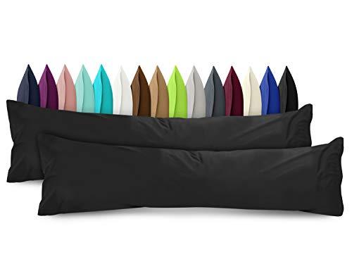 npluseins 2er Pack Baumwoll Kissenbezug - Jersey - viele Farben 1331.1812, ca. 40 x 145 cm, schwarz