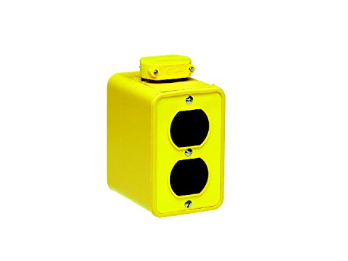 Woodhead 3000-10 Super-Safeway Multiple Outlet Box - Yellow, Double Sided Duplex Outlet Box with Standard Depth, C-Clamp, Duplex Cover Plates, 4 Outlets