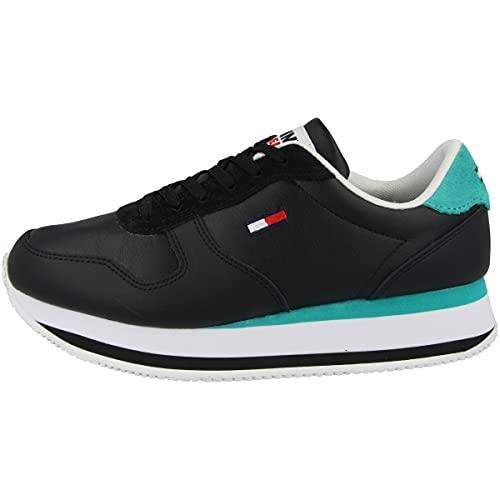 Tommy Hilfiger Tommy Jeans Flatform Essential Runner - Zapatillas deportivas para mujer, color Negro, talla 41 EU