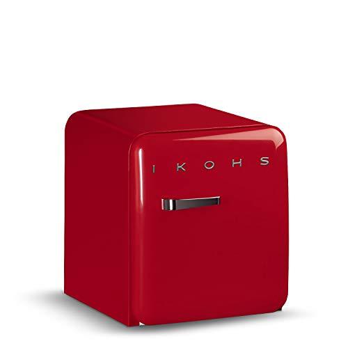 IKOHS Retro Fridge - Frigorífico con diseño, Control de Temperatura Ajustable, Estantes Intercambiables, Estética Vintage de los años 50, Clase Energética A+ (Rojo, 50 cm)