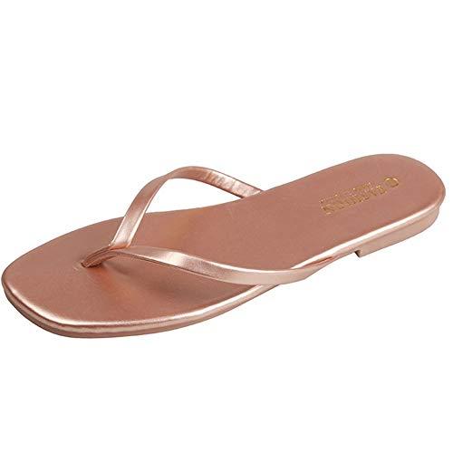 MYW Eenvoudige Vierkante Kop Flat Non-slip Flip-flops Indoor En Outdoor Open Teen Sandalen Vrouwen (Color : Gold, Size : 37)