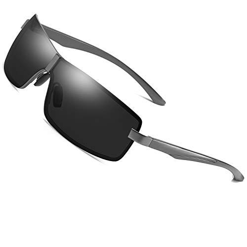 AORON Polarisierte Sonnenbrille Herren Sportbrille Fahrerbrille UV400 Brille mit Federscharnier für (Grau)