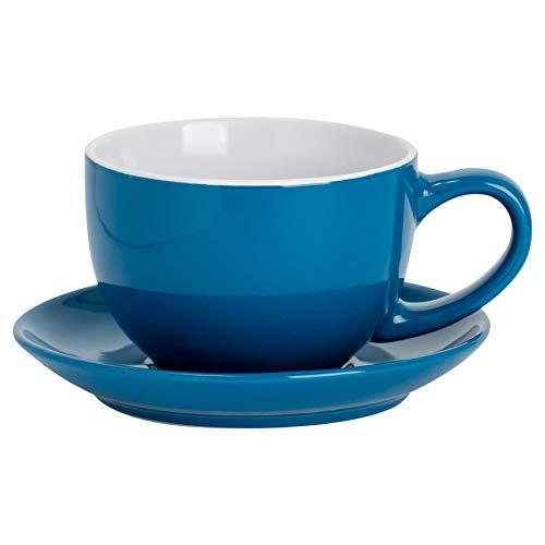 Argon Tableware Farbige Cappuccino Tasse und Untertasse - Modern Style Porzellan-Tee-und Kaffeetasse - Blau - 250ml