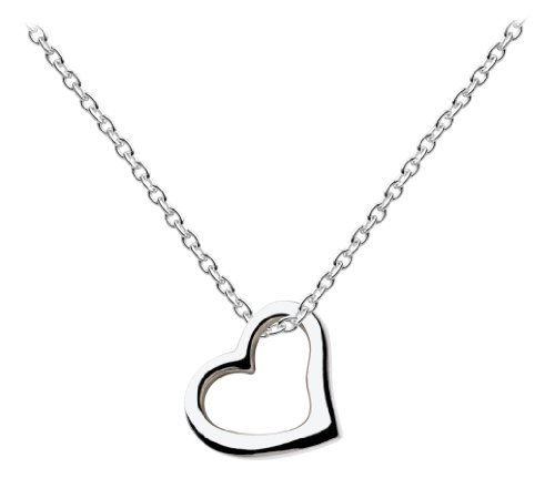Dew Sterling Silver Open Heart Necklace of Length 45.7 cm