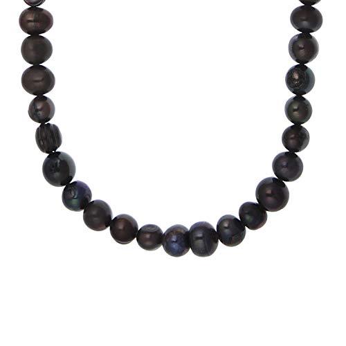 Collar de perlas de auténtica plata de ley 925 con perlas cultivadas de agua dulce, color azul, 45 cm de largo
