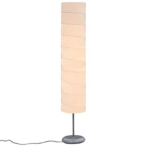 vidaXL Stehlampe mit Ständer Stehleuchte Standleuchte Standlampe Bodenlampe Lampe Leuchte Wohnzimmer 121cm Weiß E27 Reispapier 60W