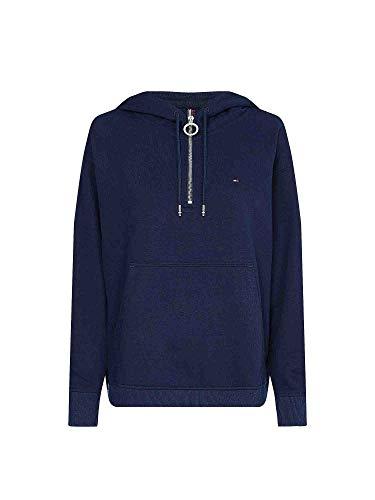 Tommy Hilfiger TH ESS Oversized Half Zip Hoodie Sweatshirt à Capuche, Blue, XL Femme