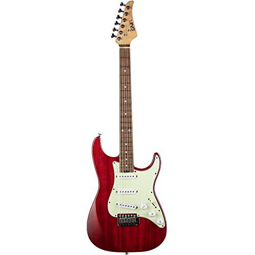 EART Solid-Body E-Gitarre SSS Single Coil Pickups Gitarre mit 6 Gitarrensaiten, rechtshändiges Palisandergriffbrett in Rot für Pop, Blues, Light Rock