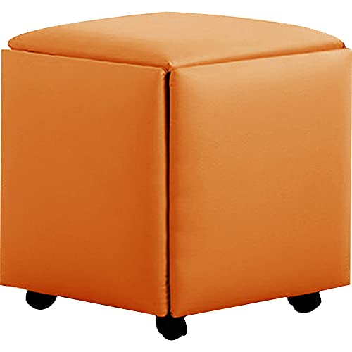 WAYUTO 5 in 1 PU Leather Seating Cube with Swivel Casters Stackable Sofa Chair Stool Nesting Ottoman Stool Movable Footstool Dressing Chair for Living Room Bedroom(Orange,Large)