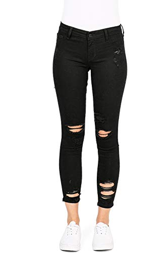 Cello Jeans Women's Juniors Mid Rise Distressed Skinny Jeans (9, Black)