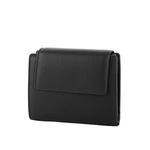 Rada Geldbörse Damen mit Druckknopf - 8 Kreditkartenfächer - 2 Steckfächer - 3 Sichtfächer - hochwertiges Portemonnaie aus Kunstleder (schwarz)
