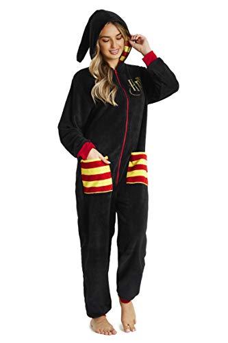 HARRY POTTER Combinaison Pyjama Homme Ou Femme, Grenouillère Adulte en Polaire Douce avec Capuche Taille S, M, L Et XL, Kigurumi Adulte Chaud Et Confortable (Noir, M)