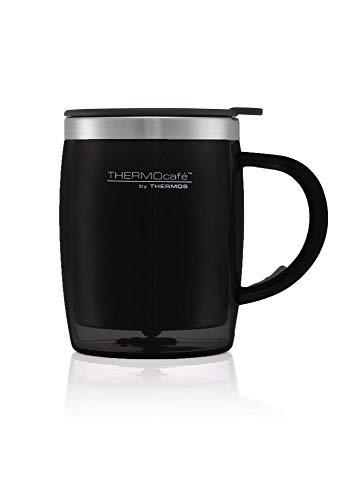 ThermoCafe 450 ML en Plastique et Acier Inoxydable, en pièces Mug de Bureau, Noir, 0.45L
