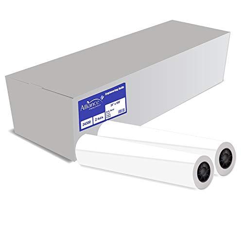 "Alliance Wide Format Paper 24"" x 300' CAD Paper Rolls 92 Bright, 20lb - 2 Rolls Per Carton - Ink Jet Bond Rolls with 2' Core"