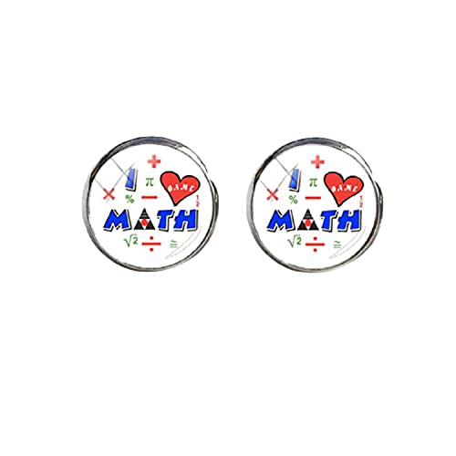 Pendientes de cristal con forma de cúpula de cristal con texto 'I Love Mathematics