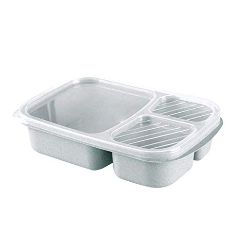 Nfudishpu Boîte à lunch, Pique-nique Blé Paille Bento 3 Compartiments Repas, Contenant du déjeuner Préparation des aliments Cuisine Vaisselle Boîte à nourriture portable (Couleur: Bleu) (Couleur: Bleu