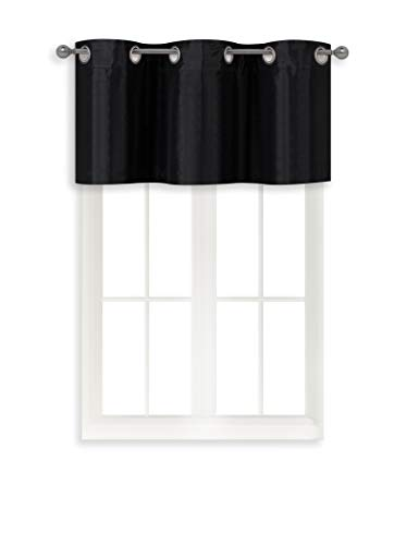 Home Queen Grommet Blackout Curtain Valance Window Treatment for Living Room, Short Straight Narrow Window Valance, Set of 1, 37 X 18 Inch, Black