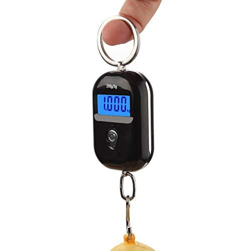 SVNA Mini báscula Colgante electrónica para Equipaje, Compras exprés, Llavero de supermercado, báscula de Cocina doméstica portátil, 25 kg / 5g (Color : Black)