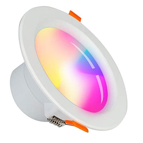 WLAN LED Einbauleuchte Alexa/SUMGLED/Smart 5W LED Decken Strahler Leuchte, Mehreren Farben Dimmbar Weiß LED Einbaustrahler, Fernbedienung Deckenspots Kompatibel mit Alexa Google Home