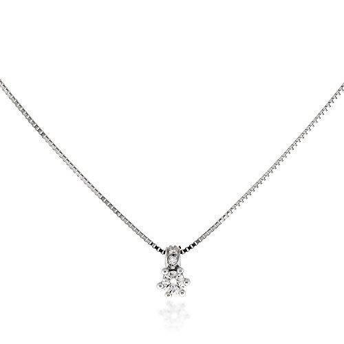 Gioiello Italiano - Collana in Oro Bianco 18kt Punto Luce con Diamanti