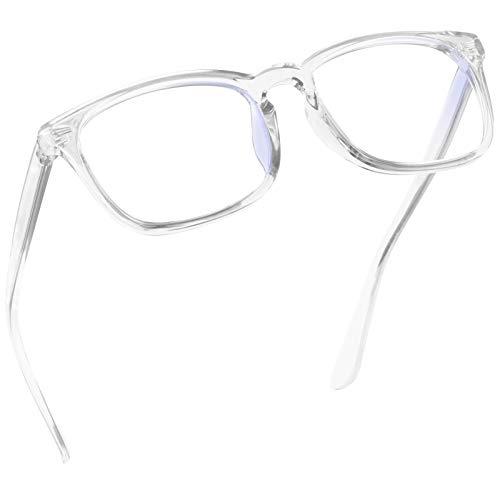 Epova TR90 Blue Light Blocking Glasses for Women and Men - Lightweight Computer/Reading/Gaming/TV/Phones Glasses - Anti Eyestrain & UV Glare, Classic Square Eyeglasses Frame with Case, Transparent