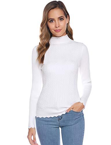 Abollria Suéter para Mujer Jersey de Cuello Alto Básico Ajustado Jerséy Manga Larga para Otoño Invierno