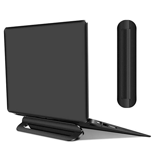 """Coolden Laptop Stand Ergonomic Adhesive Invisible Aluminum Computer Riser for Bed Notebook Mount Stable Standing for Tablets Keyboard Laptops 10-15.6"""" Black"""
