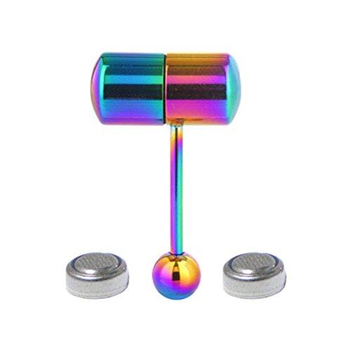 OULII Piercing para lengua de acero inoxidable vibrante con 2 pilas (colorido)