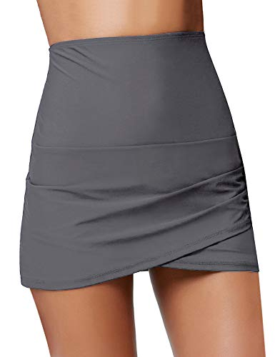 LUYEESS Women's High Waisted Tulip Hem Swim Skirt Bikini Tankini Swimsuit Swimwear Beachwear Bathing Suit Skirted Bottom with Briefs Grey, Size M(US 8-10)