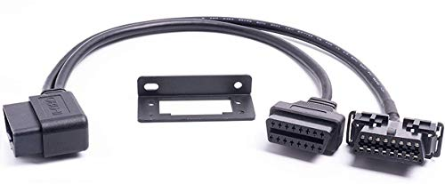 Right Angle Universal OBD II OBD2 16pin Extension Splitter Y Cable 1 Male to 2 Female with Underdash Bracket for GPS