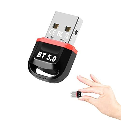 iZhuoKe Adaptador de Bluetooth 5.0,Bluetooth USB PC Transmisor y Receptor Compatible con Windows XP/7/8/8.1/10/Vista,para TV/Auricular/Altavoz/Ratón/Teclado