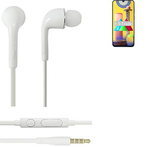 K-S-Trade Auriculares Headphone Compatible con Samsung Galaxy M31 con Micrófono Y Control De Volumen Blanco Jack De 3.5 Mm Tapones para Los Oídos Headset Espárragos Headphone Estéreo