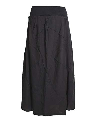 Vishes - Alternative Bekleidung - Langer Weiter Damen Patchwork-Rock - Hand-Gewebte Baumwolle schwarz 46
