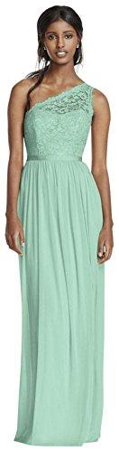 Long One Shoulder Lace Bridesmaid Dress Style F17063, Mint, 2