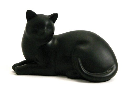 Near & Dear Pet Memorials Cozy Cat Resin Cremation Urn, 25 Cubic Inch, Black